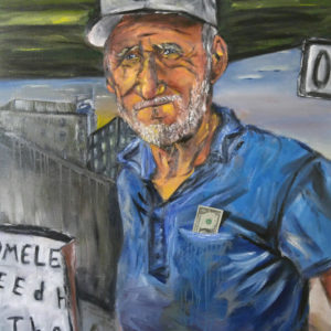 Title, How Much A Dollar Cost; Oil on Canvas painting of an older white working class man with a dollar in his pocket