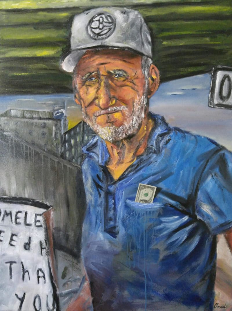 Painting by Omari Booker. Portrait of an older, tired man with a dollar in his pocket.