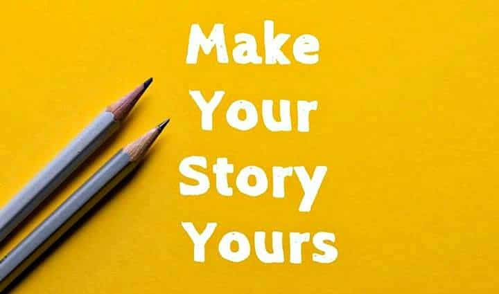 Two grey pencils on a yellow background with the title Make Your Story Yours