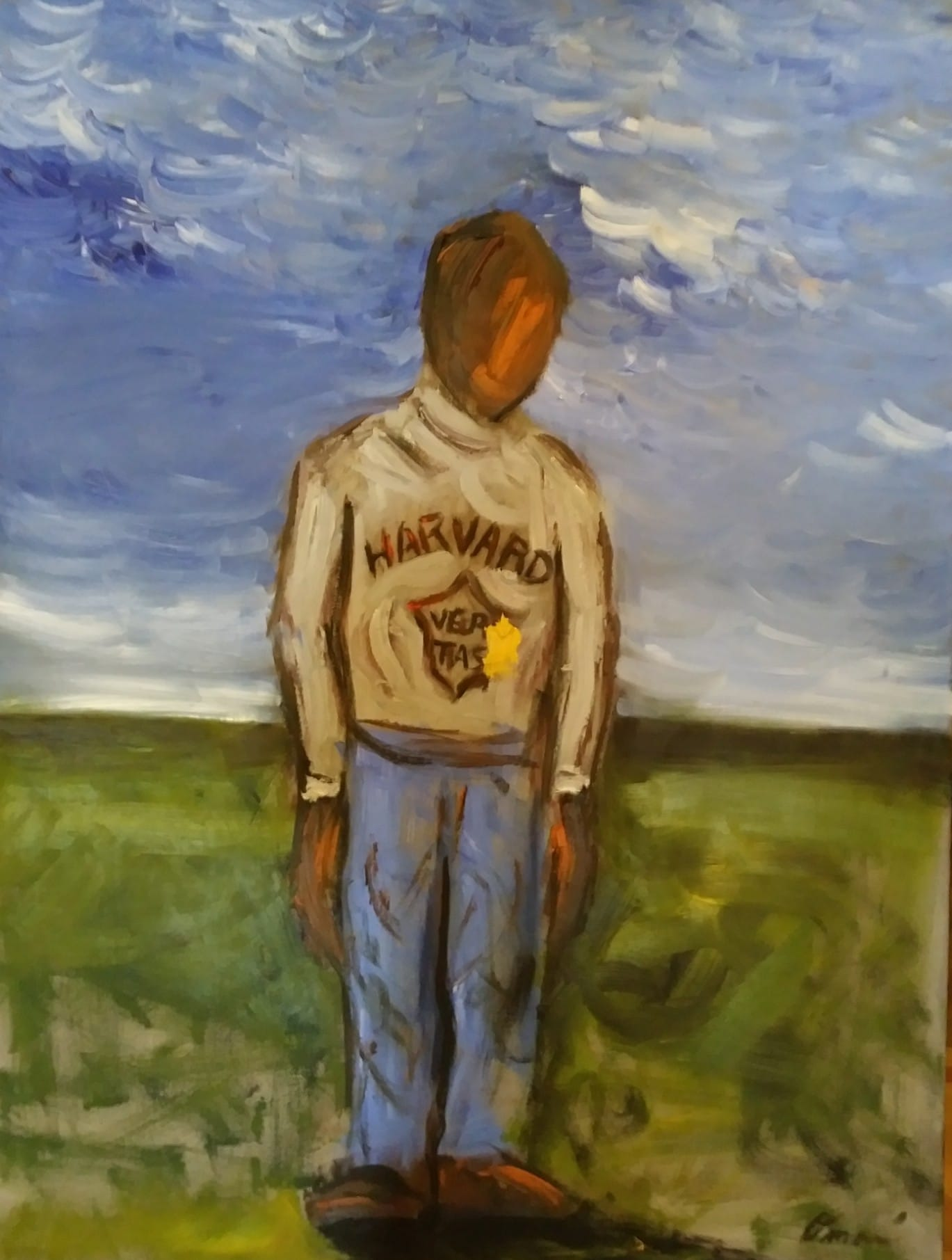 Painting by Omari Booker of himself as a child wearing a Harvard sweatshirt which belonged to his father, after a schoolmate spat on the sweater.