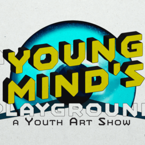 Logo for A Young Mind's Playground -- yellow block text in front of a blue iris.