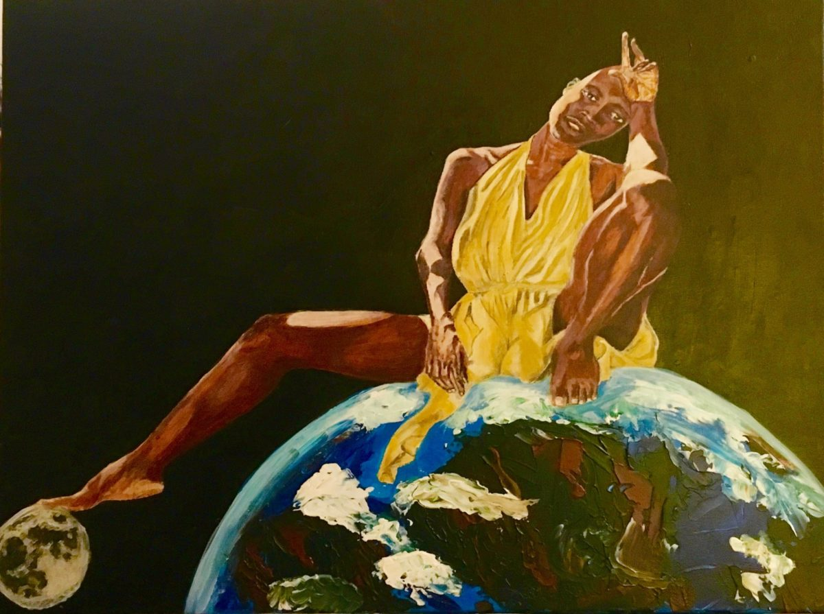 Painting of a black woman in a yellow halter dress, presented as a goddess, seated on the Earth which is pictured in space.