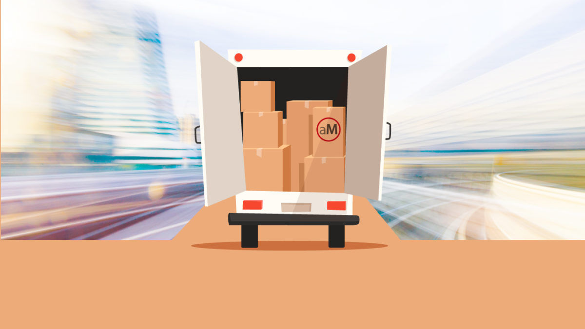 Illustration of a moving truck packed with boxes heading into the unknown